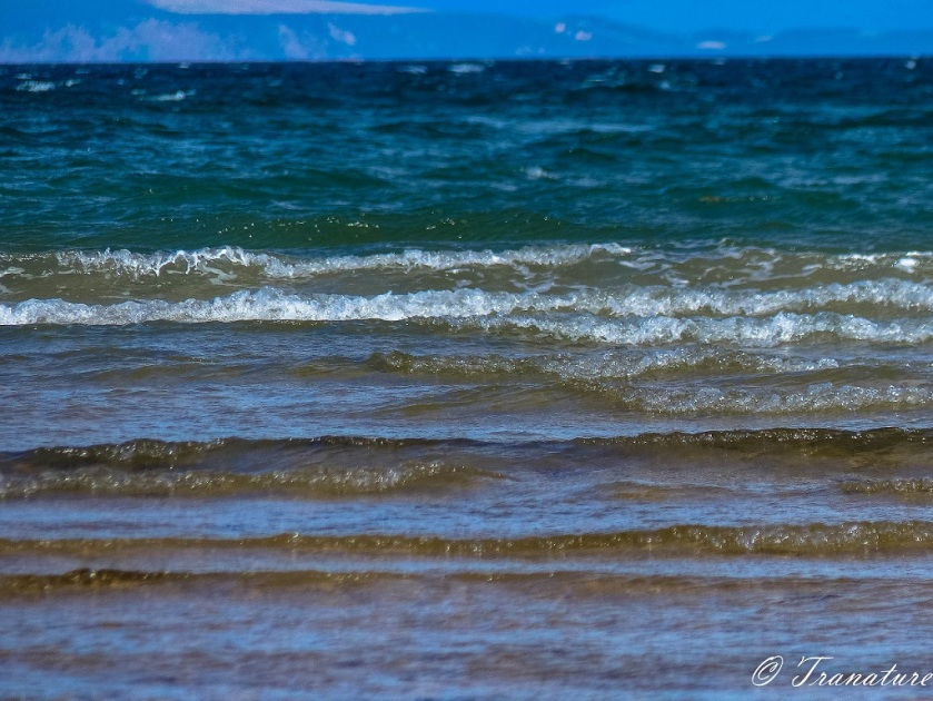 close up of waves rolling towards the shore