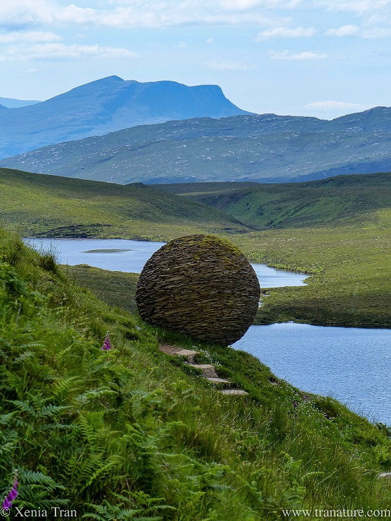 a close up shot of the Globe sculpture at Knockan Crag