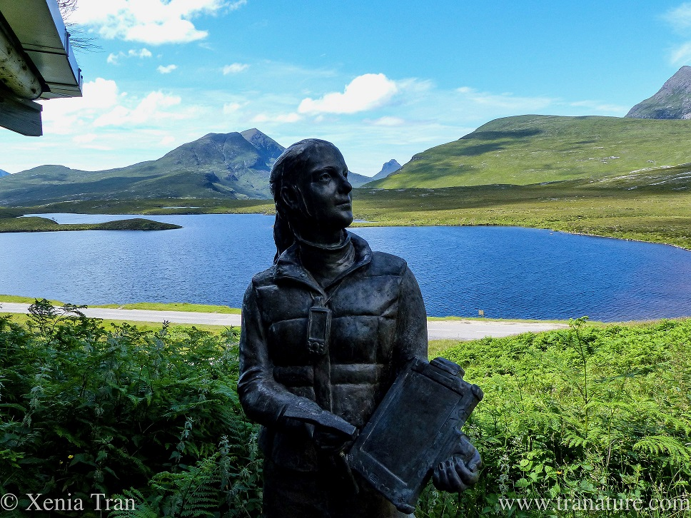 sculpture of a female geologist at Knockan Crag, the loch and hills in the background