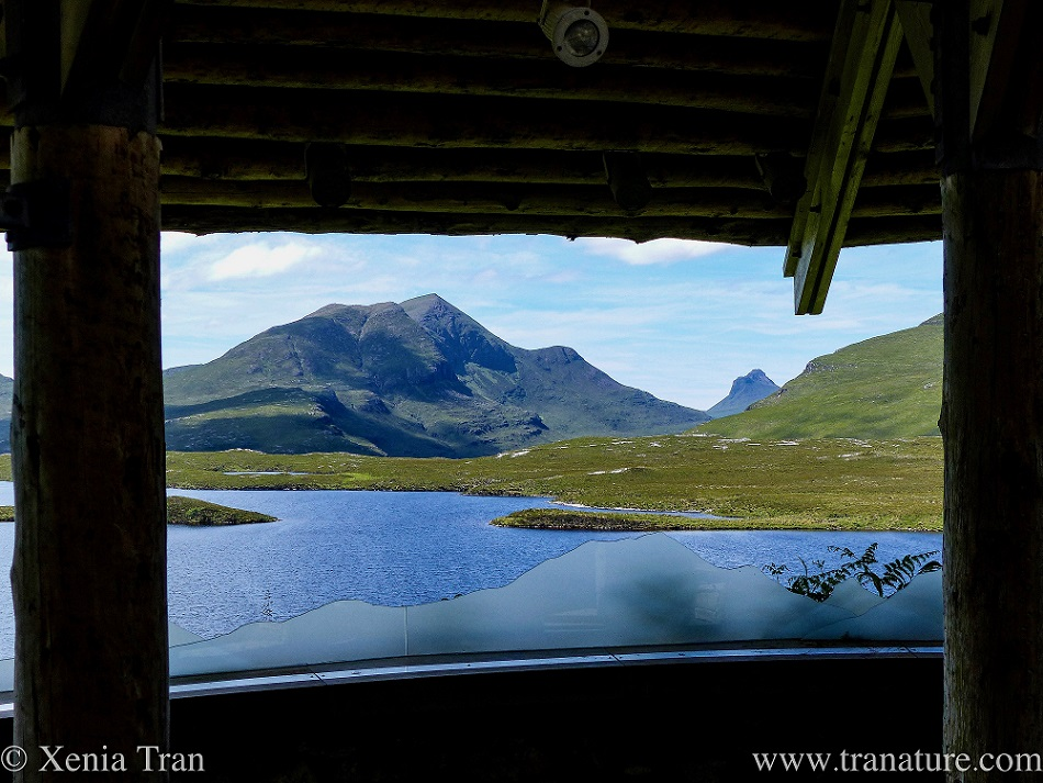 view over the nature reserve from the Rock Room at Knockan Crag