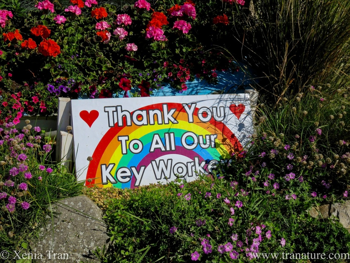 Thank you to all our Key Workers Rainbow Heart sign