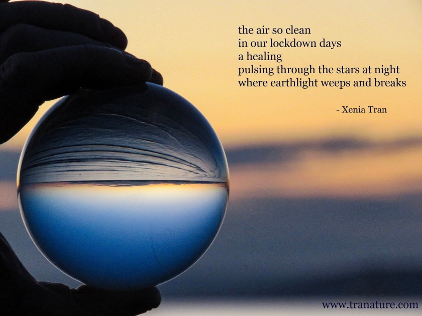 part of a hand holding a lensball by the sea at sunset with a tanka poem by Xenia Tran