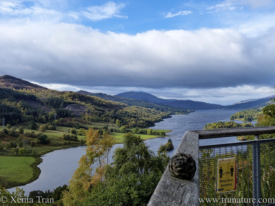 Queen's View in Perthshire with Keep Your Distance Sign on the railing