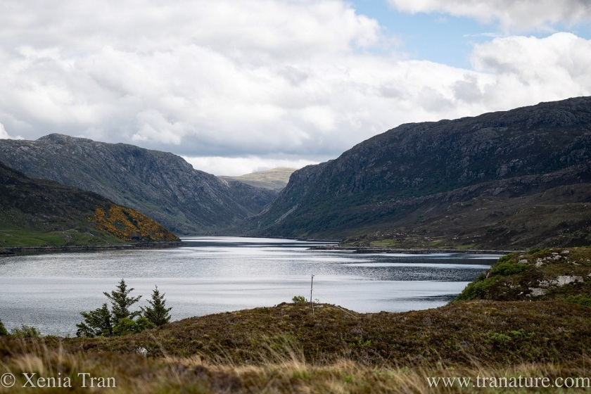 Loch Glendhu with large clouds above the mountains