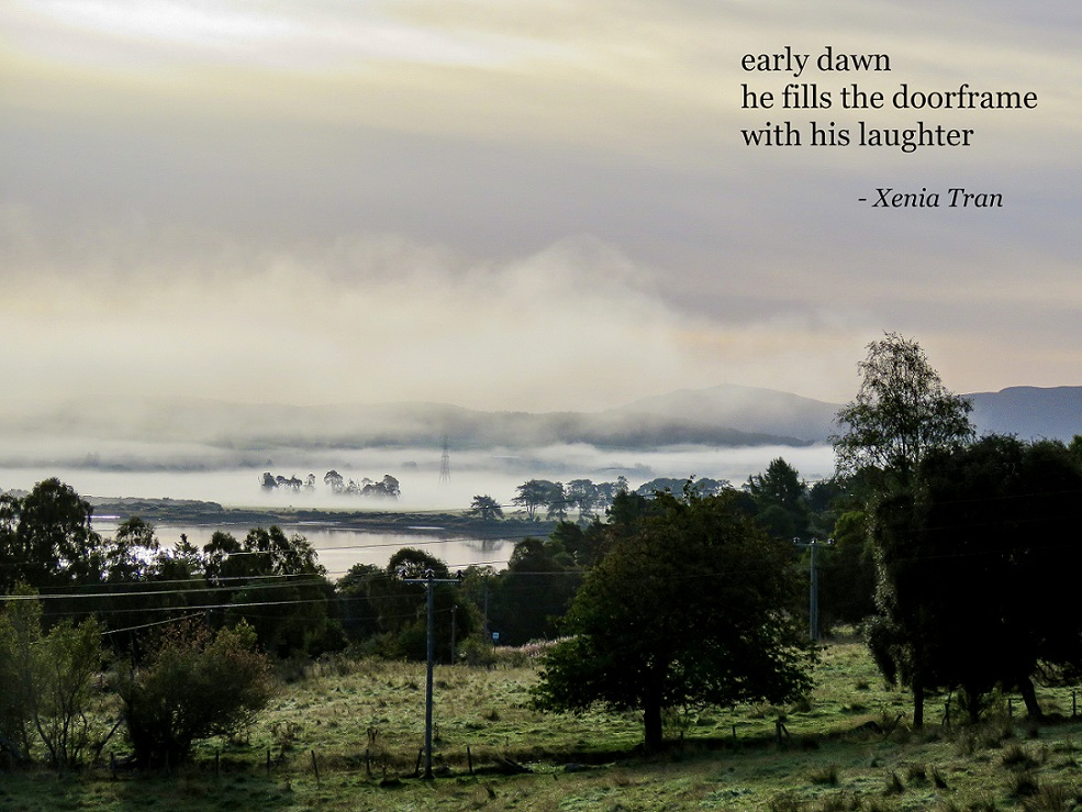 haiku poem by Xenia Tran with early morning mist rising from the Kyle